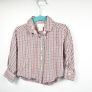Red white and blue plaid  long sleeve button down